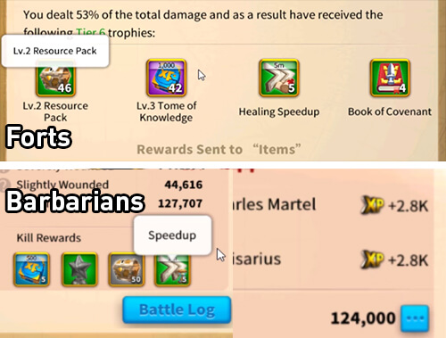 fort vs barbarians rewards