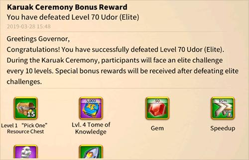 karuak ceremony reward