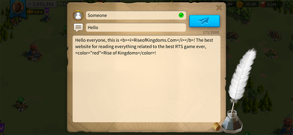 fancy text trick rise of kingdoms
