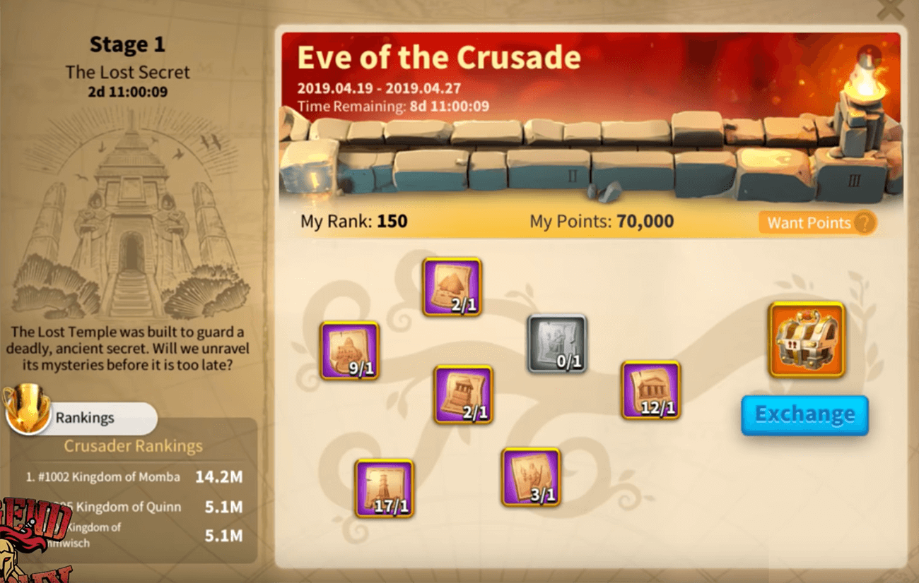 eve of the crusade stage 1