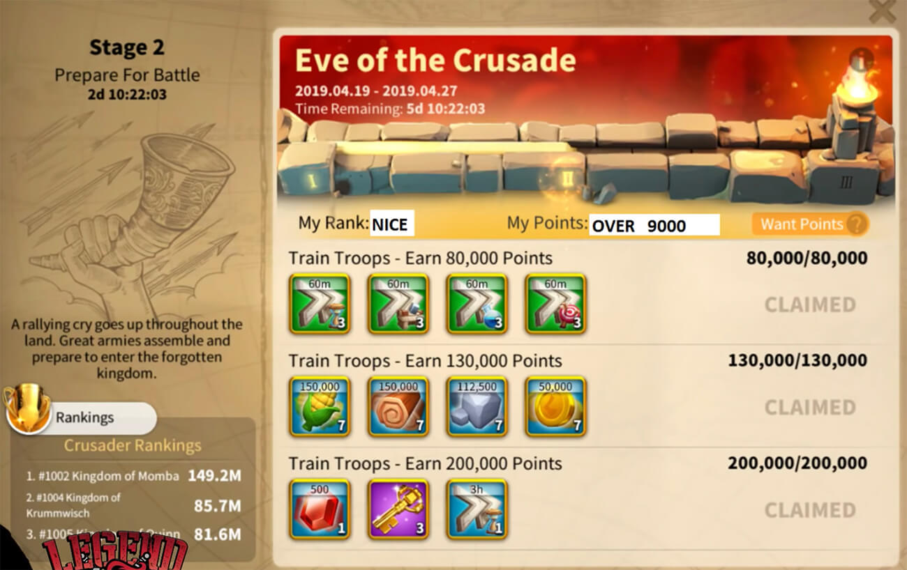 eve of the crusade stage 2