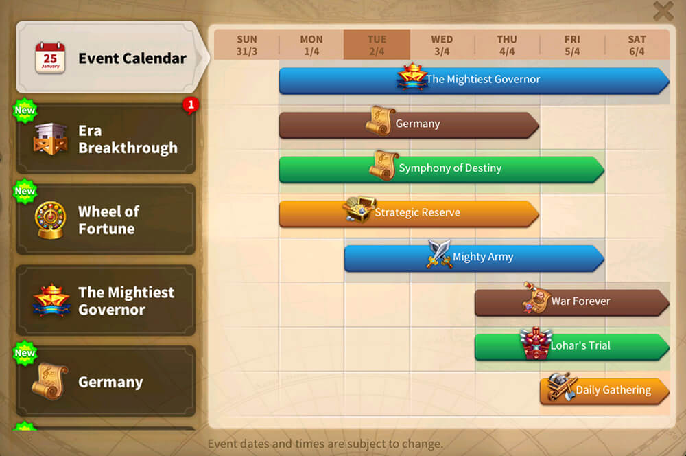 event calendar rise of kingdoms