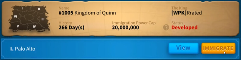 immigrate kingdom step 2