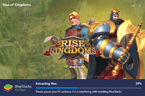start installing Bluestacks v4.0 to play RoK