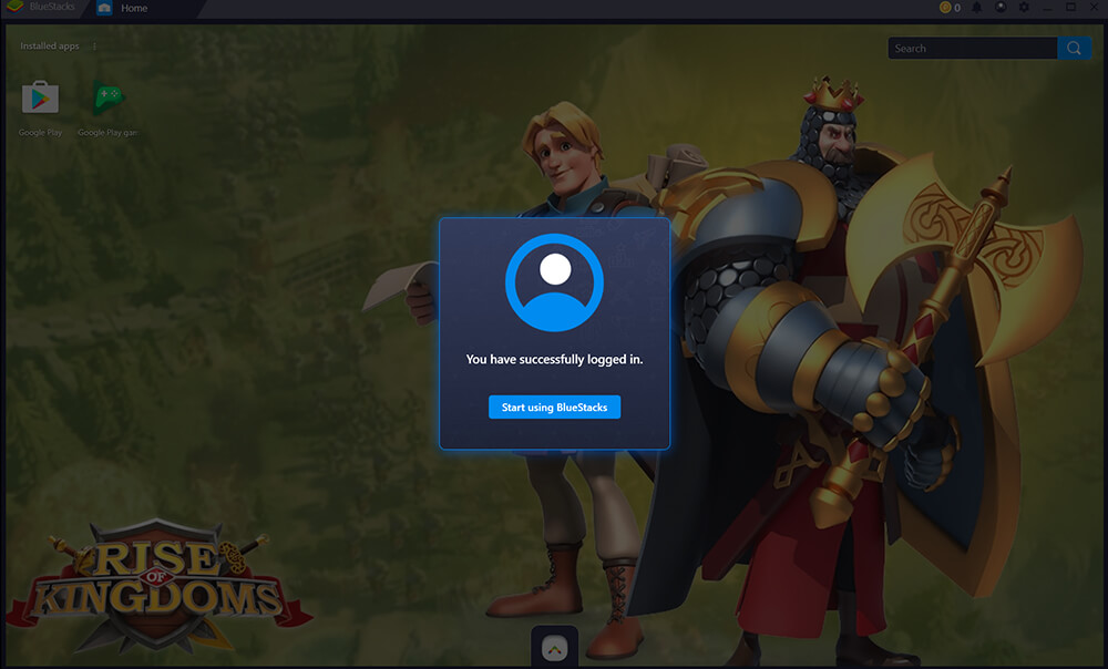 start using Bluestacks