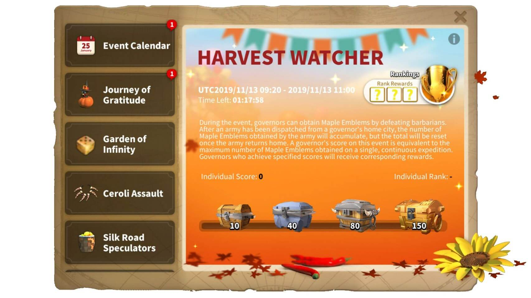 harvest watcher event rok