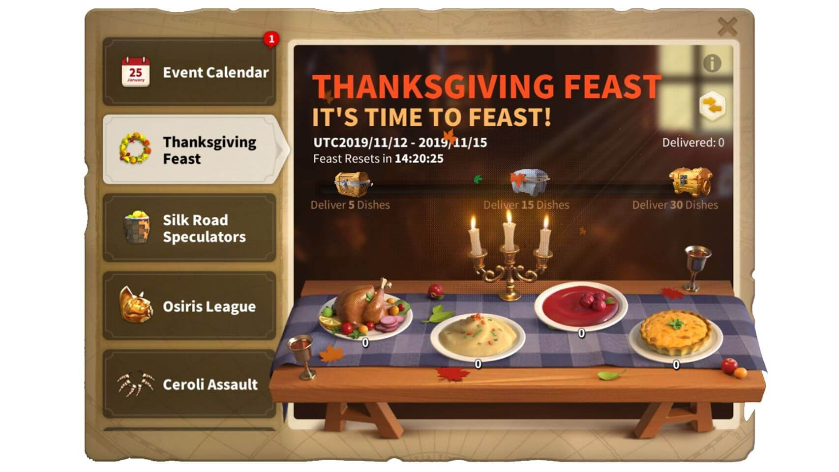 thanksgiving event rise of kingdoms