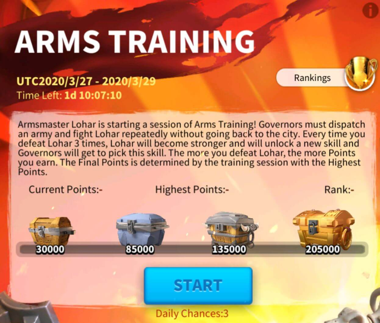 Rise of Kingdoms arms training event