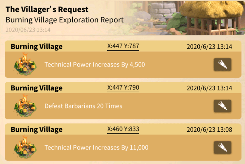 burning village quests