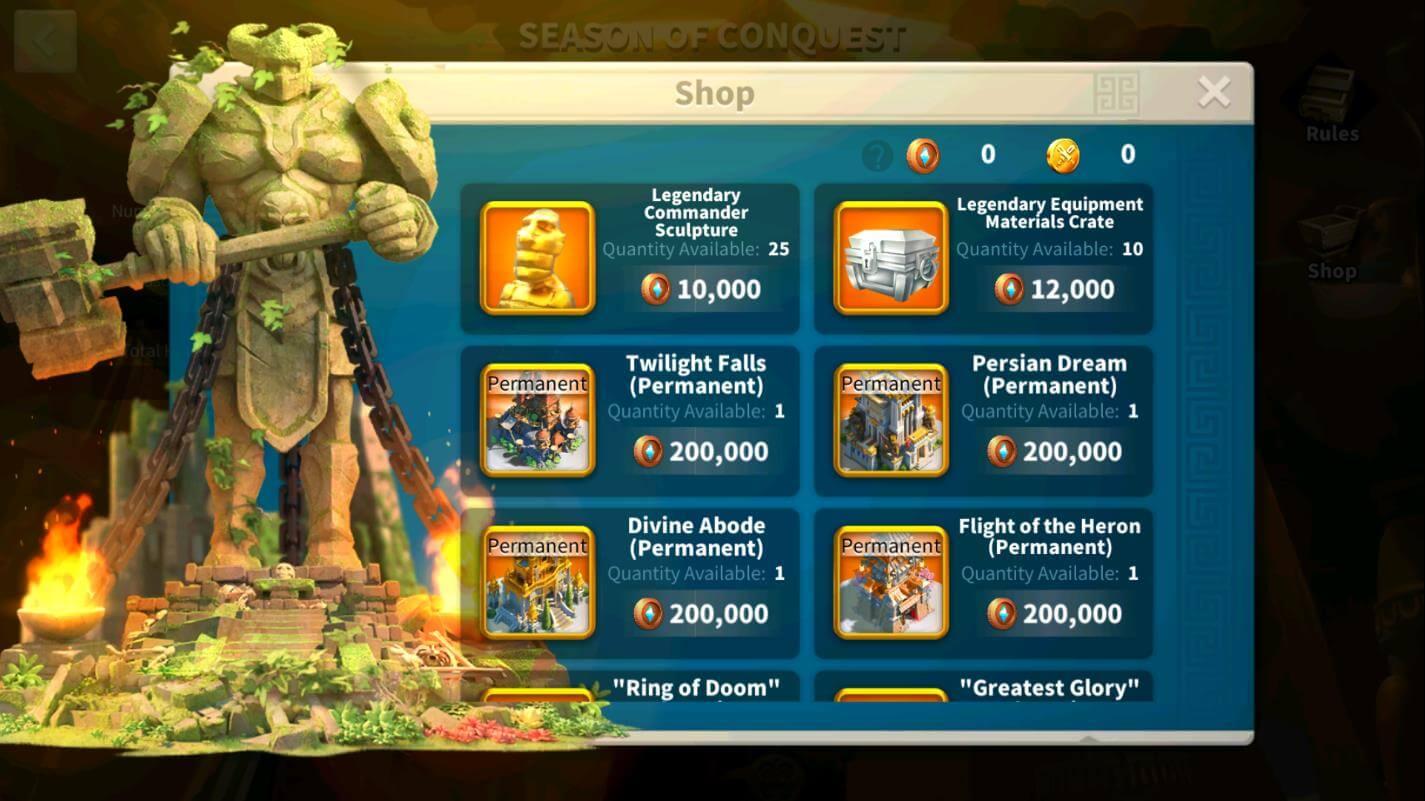 Heroic Anthem Shop Rise of Kingdoms